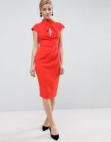 ASOS Twist Neck Keyhole Midi Dress | chic red vintage style pencil dresses