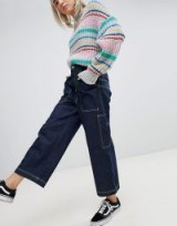 ASOS Workwear Skater Jeans with Neon Threads in Clean Indigo | dark blue wide leg denim