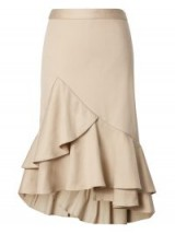 BANANA REPUBLIC Ruffle-Hem Pencil Skirt ~ beige asymmetric skirts