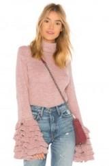 AYNI TANIA TURTLENECK SWEATER ROSE – pink ruffle cuff sweaters