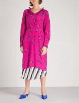 BALENCIAGA Hybrid silk-crepe de chine dress in fuchsia ~ pink floral dresses