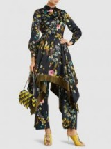 BAUM UND PFERDGARTEN Abella Floral-Print Satin Dress ~ luxe style handkerchief hemline dresses