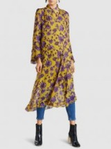 BAUM UND PFERDGARTEN Ameli Floral-Print Crinkled Georgette Midi Dress ~ feminine floaty dresses ~ purple and gold sheer fabrics