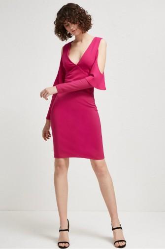 French Connection BEAU VISCOSE JERSEY COLD-SHOULDER DRESS MAGENTA HAZE – pink plunge front party dresses