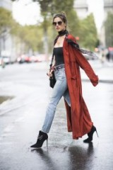Alessandra Ambrosio washed denim jeans and long dark-rust trench   models street style