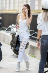 Bella Hadid's extreme distressed jeans