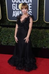 Lily James wears a black ruffle Valentino gown at the Golden Globes 2018 ~ red carpet dresses ~ celebrity looks