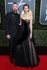 Justin Timberlake and Jessica Biel on the red carpet at the Golden Globes 2018, dressed in a black Dior Homme tux and strapless Dior Haute Couture nude gown, with black overlay ~ celebrity couples ~ designer event clothing