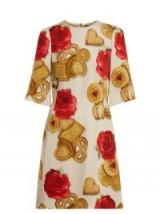 DOLCE & GABBANA Biscotti and rose-print cady dress ~ beautiful Italian dresses