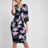 River Island Black floral print batwing sleeve midi dress – wide sleeved going out dresses – party fashion
