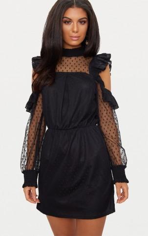 PRETTYLITTLETHING BLACK LACE HIGH NECK COLD SHOULDER FRILL DETAIL SKATER DRESS | LBD | semi sheer party dresses