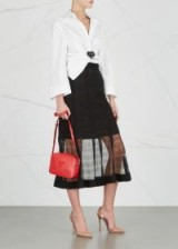 ALEXANDER MCQUEEN Black lace-knit silk skirt   luxe semi sheer midi skirts