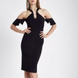 River Island Black ring front bodycon midi dress ~ glamorous party dresses