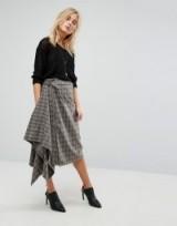 Bolongaro Trevor Checked Skirt / gathered grey check skirts