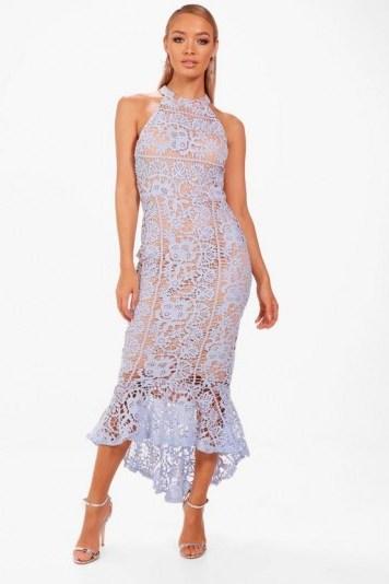 boohoo Boutique Elena Lace Frill Hem High Neck Dress | pale blue party dresses - flipped
