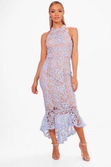 boohoo Boutique Elena Lace Frill Hem High Neck Dress | pale blue party dresses
