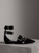 BURBERRY Buckle Detail Suede Sandals | black pointy flats