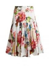 DOLCE & GABBANA Butterfly and padlock-print cotton-poplin drop waist pleated skirt ~ Italian made skirts ~ beautiful clothing