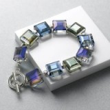 Pia Irridescent Crystals Bracelet | chunky blue tone crystal bracelets