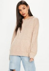 Missguided camel brushed hoodie