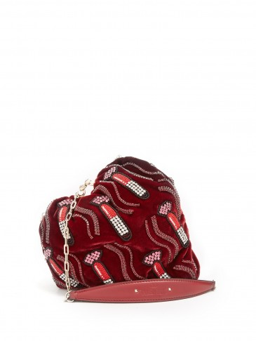 VALENTINO Carry Secrets bead-embellished heart velvet clutch ~ lipstick embellishments ~ small red luxe bags