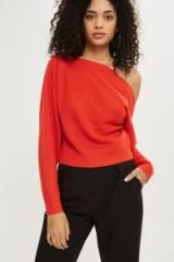 Topshop Cashmere Off Shoulder Cropped Jumper | orange jumpers | knitwear with style