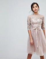 Chi Chi London High Neck Tulle Midi Dress With Cut Out Back Detail in Mink – sequin fit and flare party dresses