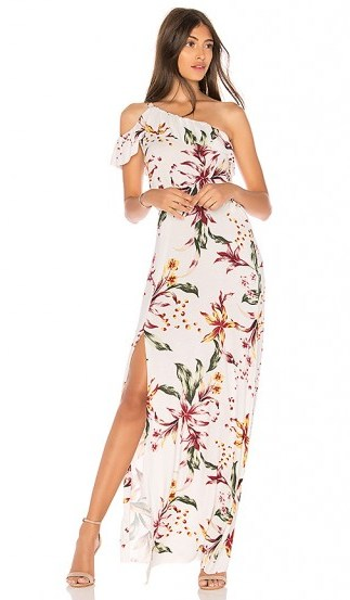 Clayton HUDSON DRESS Lily – long floral print one shoulder dresses – holiday style - flipped