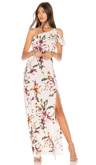 Clayton HUDSON DRESS Lily – long floral print one shoulder dresses – holiday style