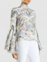 CO‎ Floral-Print Silk Crepe De Chine Top | chic wide sleeve, high neck tops