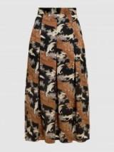 CO Printed Silk-Twill Pleated Midi Skirt   bird print skirts