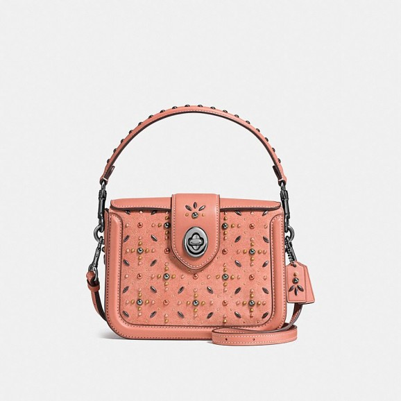 COACH Page Crossbody With Prairie Rivets in Melon | embellished top handle bags
