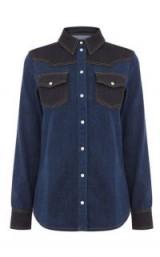 WAREHOUSE COLOUR BLOCK WESTERN SHIRT | blue cowboy shirts