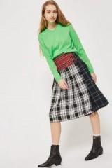 Topshop Colourblock Check Kilt Skirt   tartan midi skirts