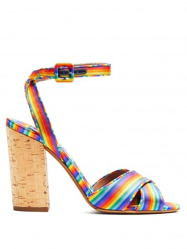 TABITHA SIMMONS Connie rainbow-striped cross-over strap sandals ~ strappy cork block heels ~ summer style
