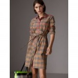BURBERRY Contrast Piping Check Cotton Shirt Dress in Camel ~ everyday style