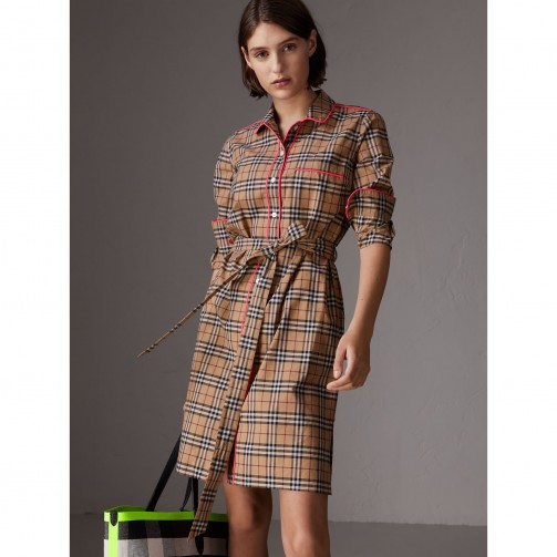 Burberry Contrast Piping Check Cotton Shirt Dress In Camel Every