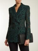 DOLCE & GABBANA Cordonetto-lace double-breasted blazer ~ green blazers ~ beautiful Italian jackets