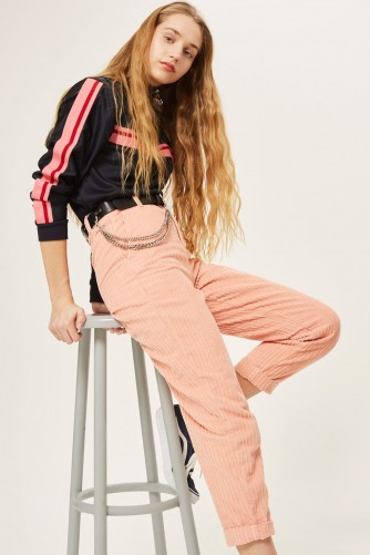 TOPSHOP Corduroy High Waisted Peg Trousers – pink cords