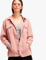 Stradivarius Pink Corduroy jacket ~ cord fabric fashion