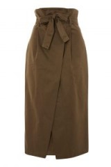 Topshop Cotton Twill Wrap Midi Skirt   paper bag waist skirts
