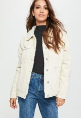 Missguided cream borg lined denim jacket – casual winter style