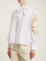 SEE BY CHLOÉ Crotchet-embellished cotton blouse ~ high neck blouses