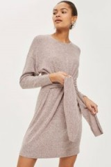 Topshop Cut and Sew Jumper Dress | pink front tie waist sweater dresses | chic knitwear