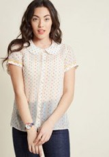 Darling in Dots Button-Up Top in Confetti Hearts – vintage style Peter Pan collar blouses