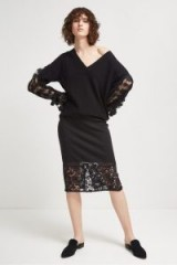 French Connection DELOS LUCKY LAYER PENCIL SKIRT – black lace hem skirts