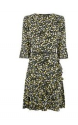 OASIS DITSY TEA DRESS ~ floral print fluted sleeve dresses