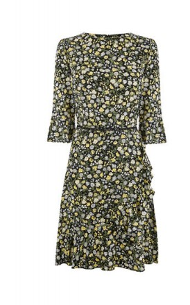 OASIS DITSY TEA DRESS ~ floral print fluted sleeve dresses