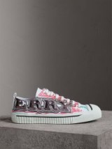 BURBERRY Doodle Print Coated Cotton Trainers | designer sneakers