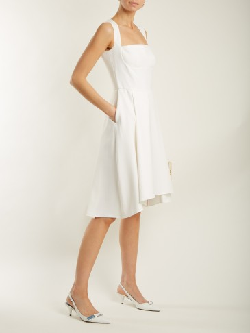 OSMAN Doris flared-hem white crepe dress ~ fit and flare dresses